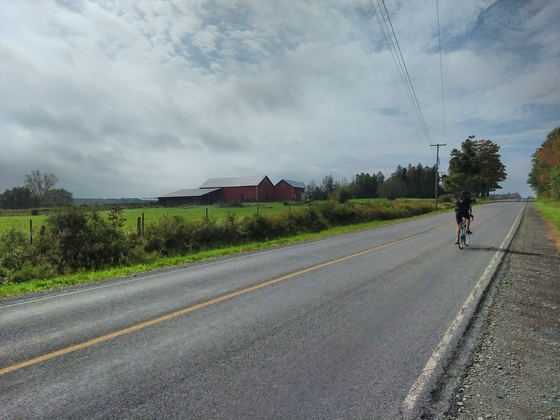 Fred biking between Keuka and Seneca